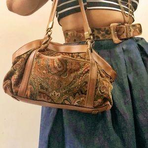 Vintage Suede Paisley Print  Satchel Handbag
